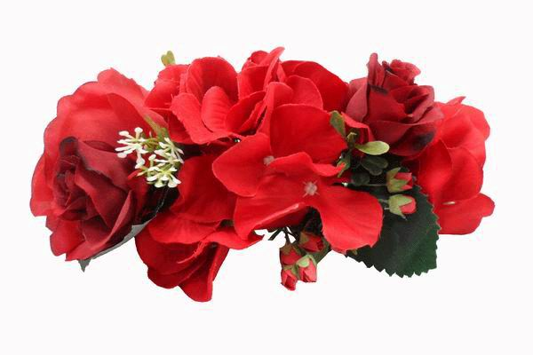 Headdress of Big Flowers in Red. Ref. 24239
