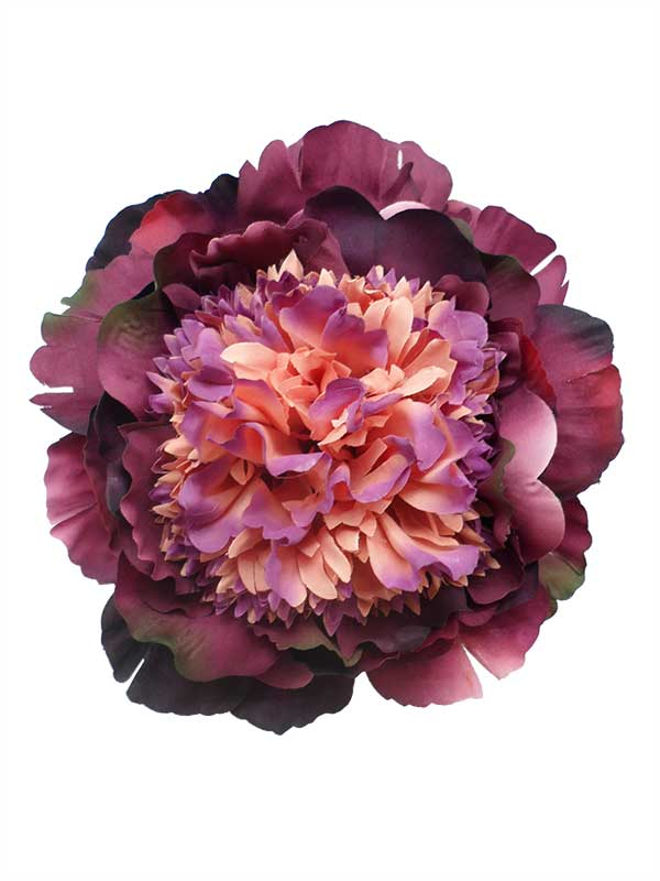 Flamenco Flowers: Large Peony in Purple and Salmon Shades. 16cm