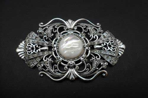 Fretwork Ogive Marcasite Brooch with Mother of Pearl center