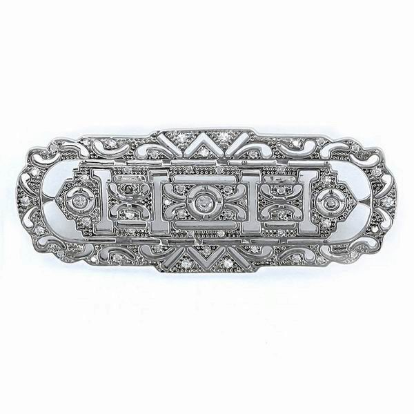 Silver Openwork Brooch with Zircons and Rectangular Shaped