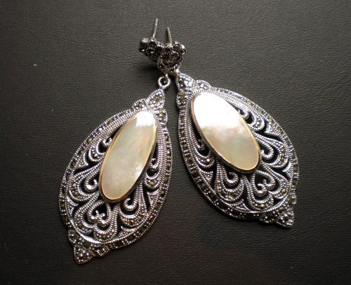 Silver Marcasite And Mother-of-Pearl Earrings