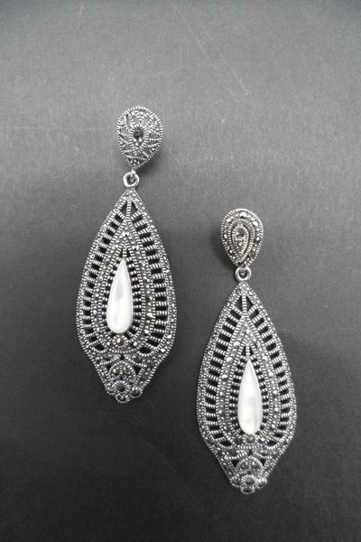 Fretwork Earrings in Silver and Marcasitas with Mother of Pearl Protracted Drop. 6cm