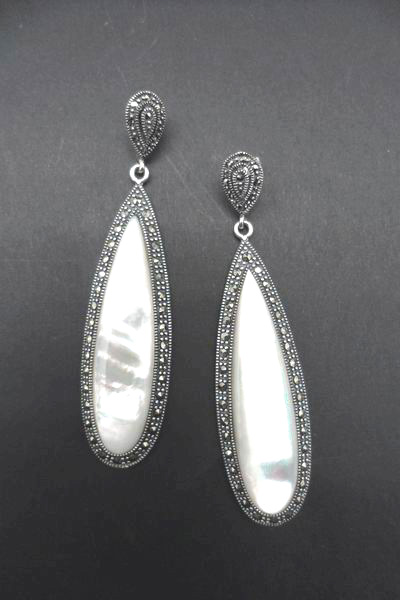 Silver Mother of Pearl And Marcasite Oval Earrings. 7cm
