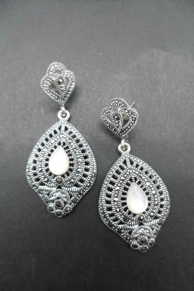 Deep Fretwork Silver and Marcasitas Earrings with Mother of Pearl Centre. 4cm