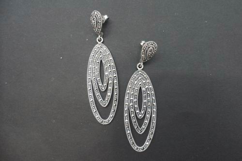 Marcasite Stone and Silver Earrings Triple Ogival Shape. 6cm