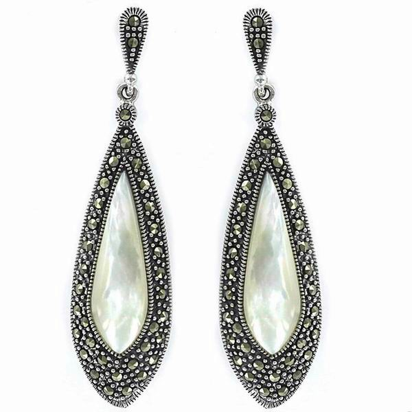 Silver Earrings with Marcasite and Mother of Pearl, Teardrop Shaped