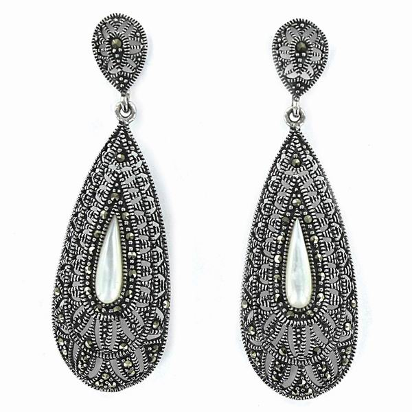 Silver Earrings with Marcasite Stones and Mother-of-Pearl Piece
