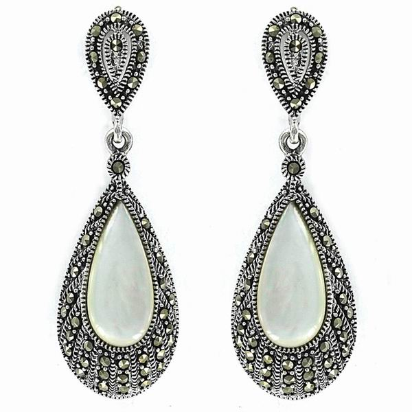 Silver Earrings with Marcasites and Mother of Pearl Teardrop Shaped