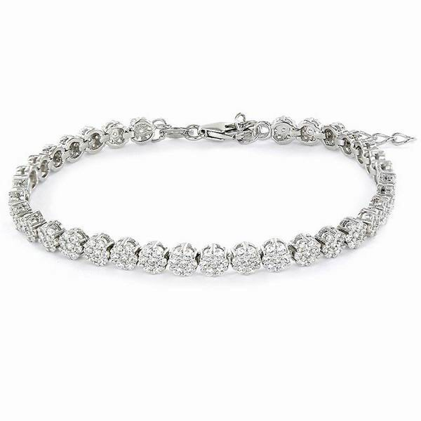 Zircon Bracelet with Micro Pave Flowers of 4mm