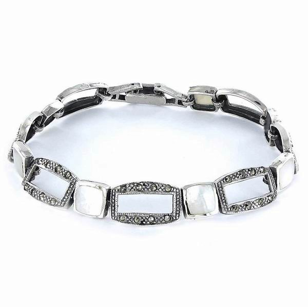 Silver Bracelet in Shape of Openwork Rectangulars with Marcasite Stones and Square Mother-of-Pearl Pieces
