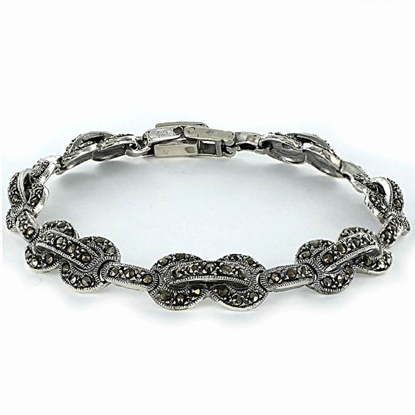 Silver Bracelet with Marcasite Stones, Chains with a Shape of Rings and Bars