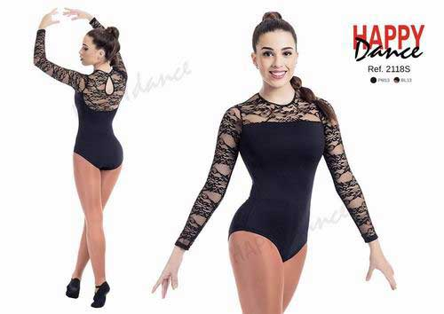 Long sleeves leotard made in lace with bra Happy Dance. Ref. 2118