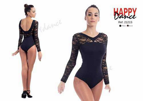 Classical leotard with bra with long sleeves and neckline in lace Happy Dance. Ref. 2121