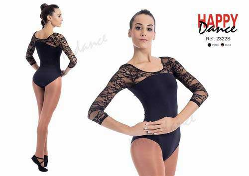 Classical leotard with three quarter sleeves with bra and neckline in lace Happy Dance. Ref. 2322