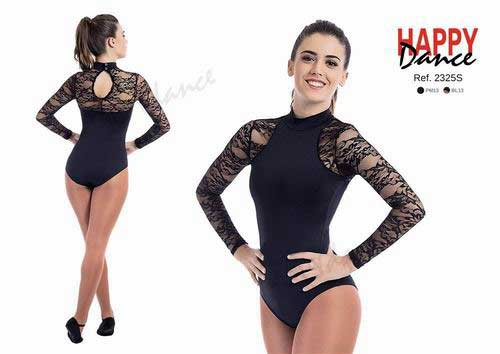 Classical leotard with long sleeves and high collar with bra Happy Dance. Ref. 2325