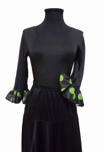 Low Cost Long-Sleeved Black Leotard with Pistachio Green Polka Dots Ruffle for Adults