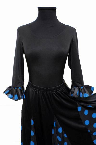 Economical Long-Sleeved Black Leotard with Turquoise Polka Dots Ruffle for Adults