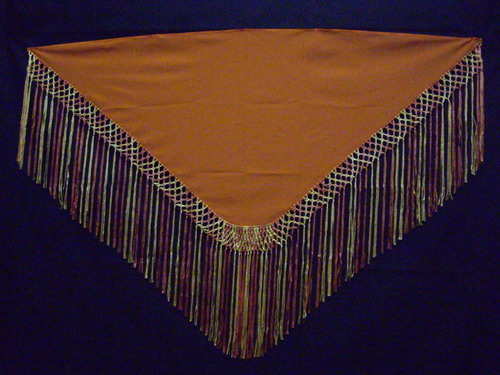 Fringed shawl - Orange shades.Cala