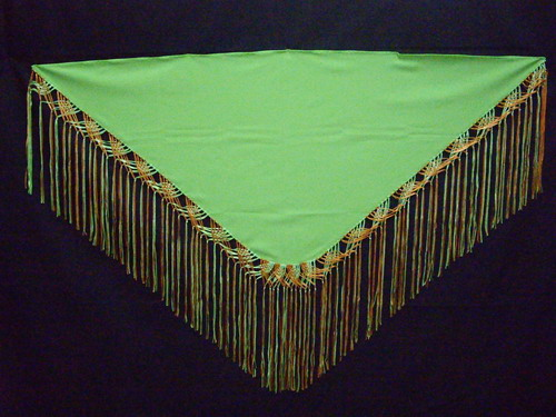 Handmade shawls with fringes Pistachio green and Orange. Cala