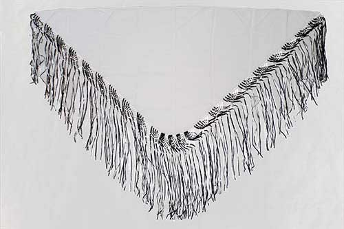 White Handmade Shawl With Black and White Fringes