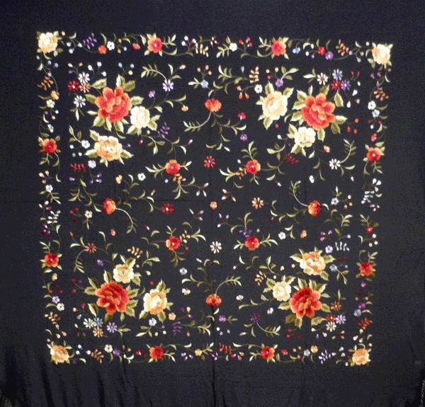 Handmade Embroidered Shawl of Natural Silk. Ref. 1011163NG
