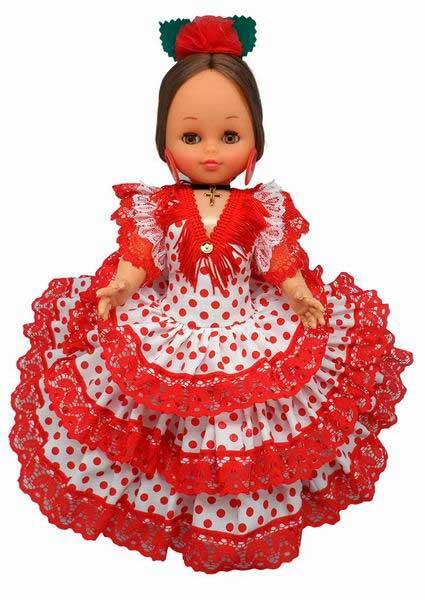 af2c00122 Muñecas Flamencas de España Traje Blanco Lunar Rojo. 25cm