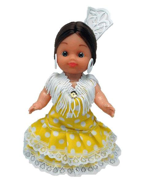 Flamenca Doll with Comb and Yellow Dress with White Polka dots. 15cm