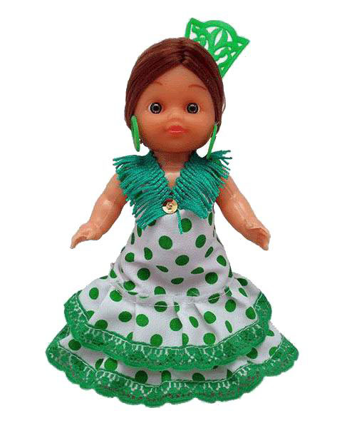 Flamenca Doll with Comb and Green Dress with White Polka dots. 15cm