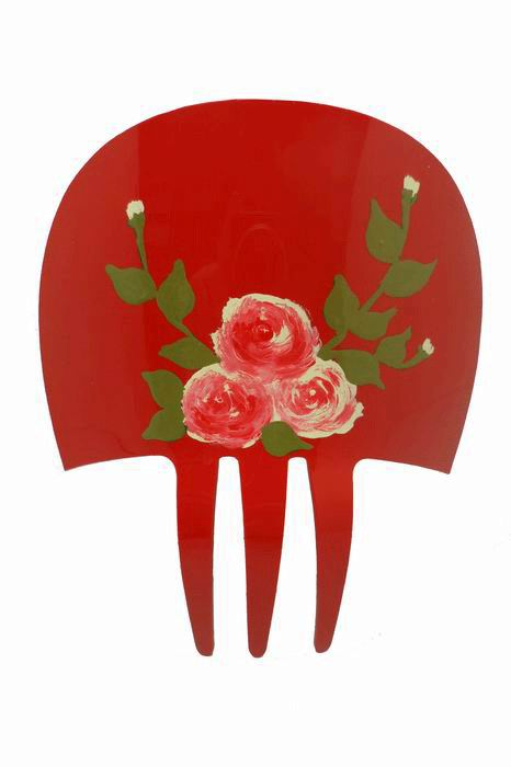 Red Hand-Painted Acetate comb
