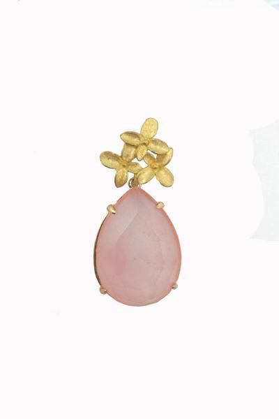 Gold Flower Earrings with a Light Pink Stone