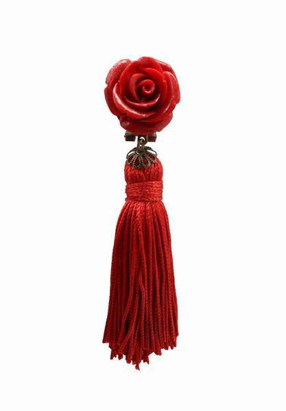 Tassel Earrings with Long Fringes in Red