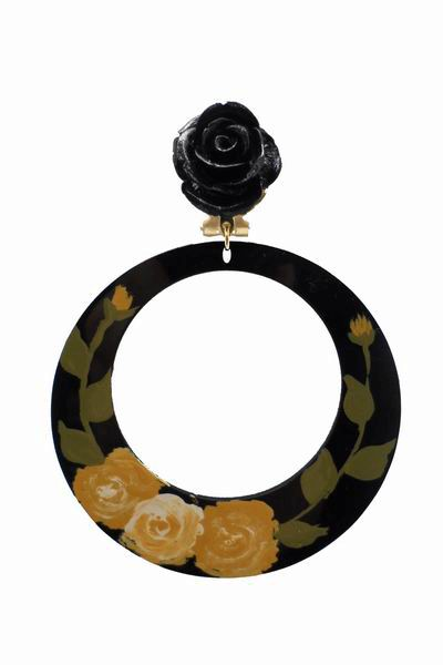 Hand painted Black Hoop Earrings with Mustard Yellow Flowers