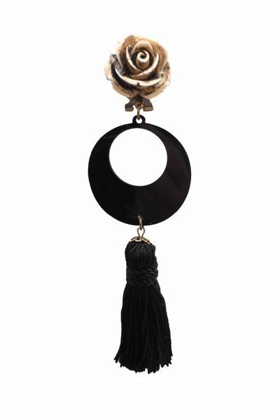 Long Black Fringes Earrings with a Flower and Beige decoration