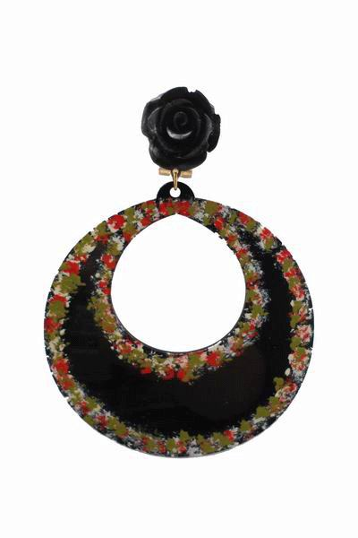Handpainted Black Hoop Acetate Flamenca Earrings