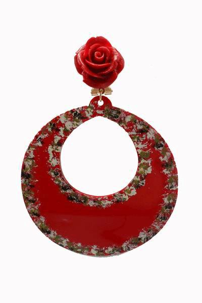 Handpainted Red Hoop Acetate Flamenca Earrings