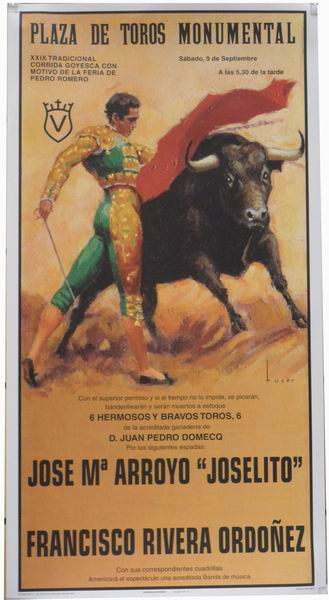 Poster of the Monumental Bullfighting of Madrid. Bullfighters Joselito and Rivera Ordoñez