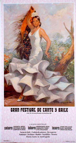 White flamenca dancer poster