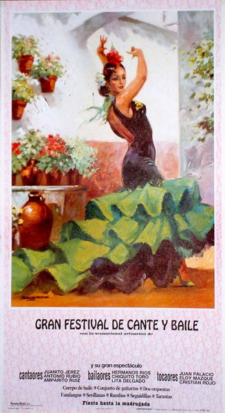 Green flamenca dancer poster