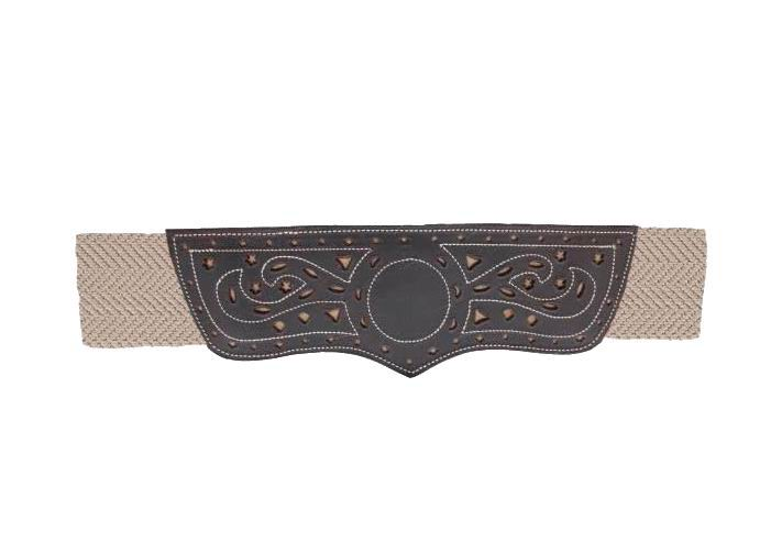 Beige Stretchable Campero Belt For Women With Backstitched and Openwork Leather