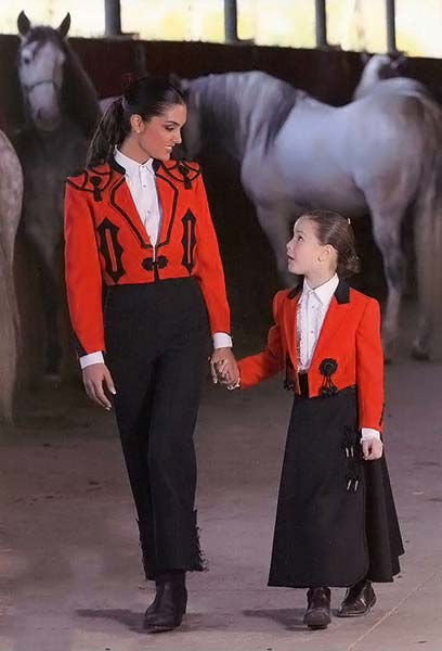Red Paseo Jacket and Black Cordobesa Skirt for little girls