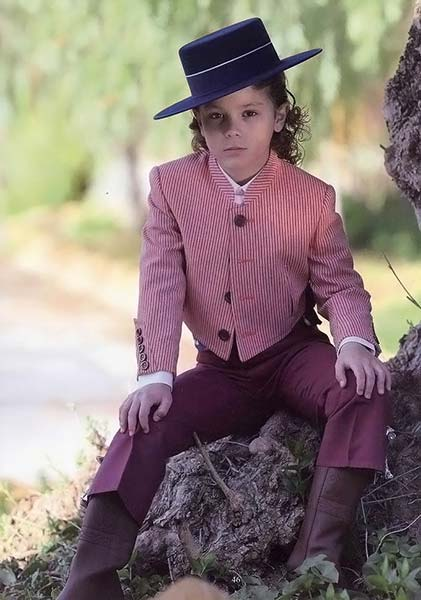 Burgundy Pinestripe Lycra Campero Suit for Kids