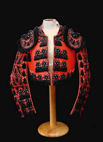 Bullfighter outfit in maroon and jet black