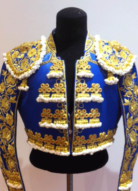Authentic bullfighter's costume. Golden and Blue