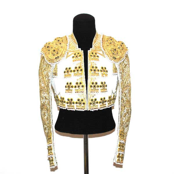 Authentic bullfighter costume. White and Gold