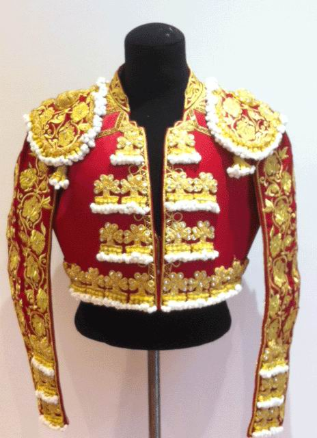 Authentic bullfighter's costume. Maroon and Gold