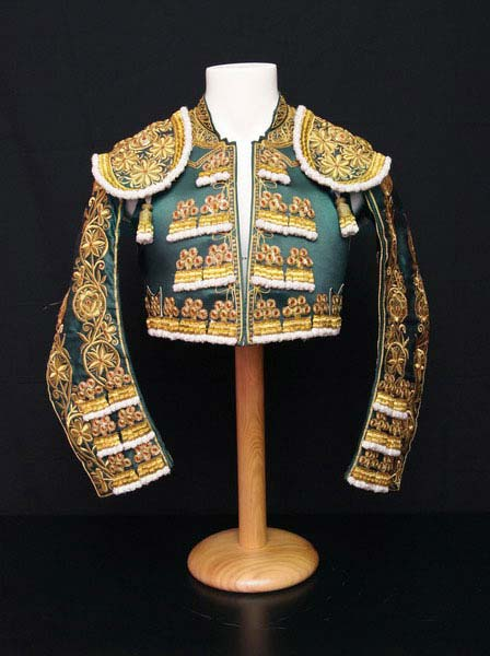 Authentic bullfighter costume. Green and Gold