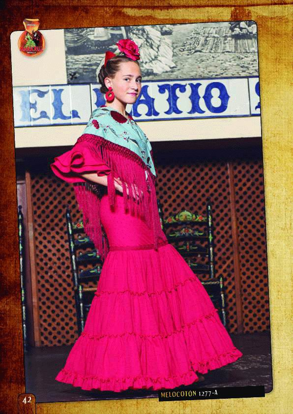 Flamenca Dress For Girl. Model. Melocotón Fucsia