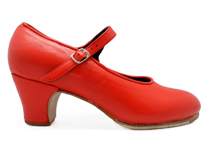 Red Leather Semi-Professional Flamenco Shoes Mercedes. Flamencoexport