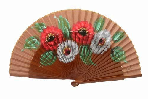 Brown tones sycamore wood fan with painted flowers