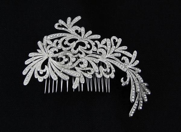 Peigne broche pour cheveux avec des cristaux de swarovski for Metal rodio en joyeria